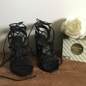 Forever 21 | black suede strappy lace up heels 5.5